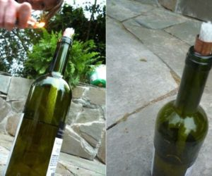 How to make a tiki torch from an empty wine bottle
