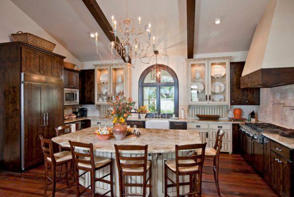 kitchen island table combination. View In Gallery Mediterranean Kitchen Island And Table With Room For Combination Homedit