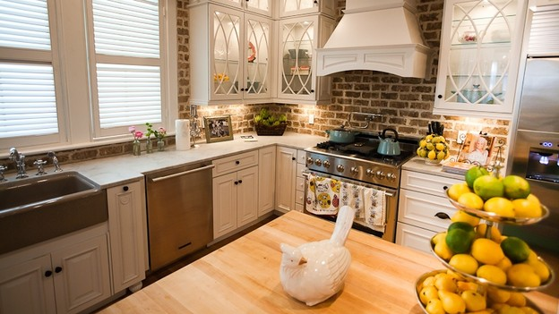 White Kitchen Exposed Brick kitchen brick backsplashes - for warm and inviting cooking areas