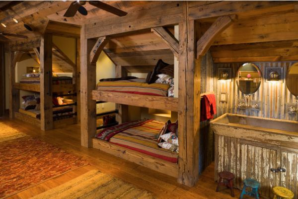 22 bunk beds for four a space saving solution for shared for Wooden bunkbeds