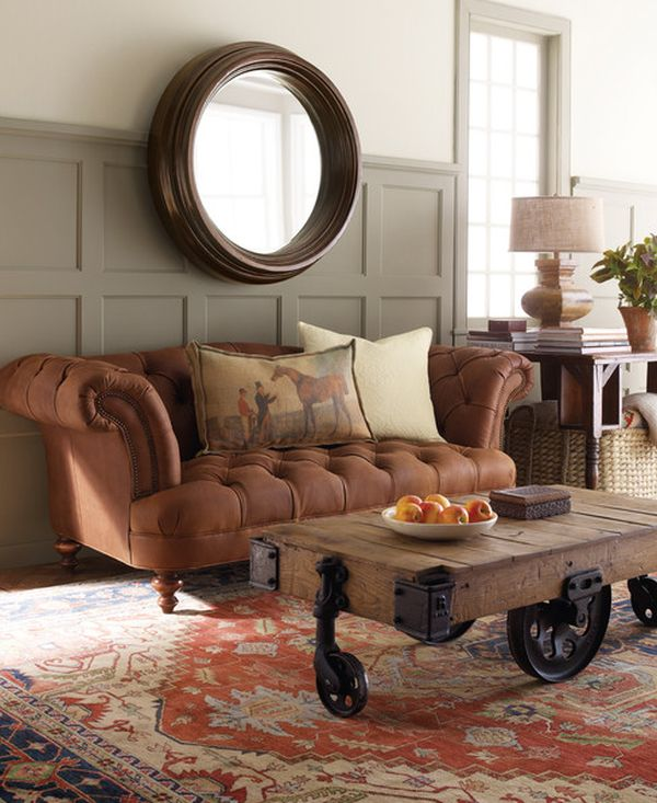 Chesterfield Sofa In A Traditional Living Room View