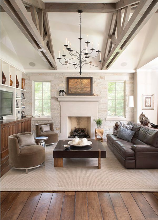 View In Gallery Contemporary Living Room With High Ceilings Exposed Beams And Brick Walls
