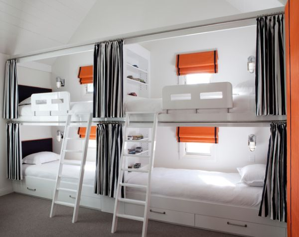 View in gallery Black and white bunk beds for four with ...