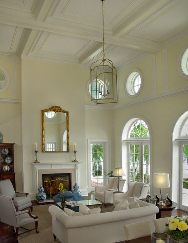 10 high ceiling living room design ideas