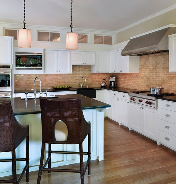 Marvelous View In Gallery Contemporary Kitchen With A Contrasting Exposed Brick Wall  And Backsplash View ...