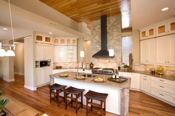 High Ceiling Kitchen Design Ideas ~ Kitchen brick backsplashes for warm and inviting cooking