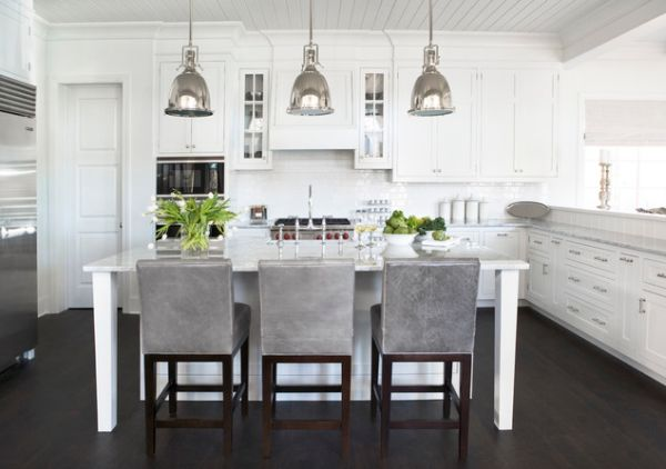 ... View In Gallery Traditional White Kitchen With A Large Island And  Antique Industrial Style Lighting