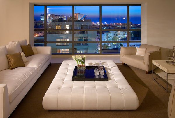 Piece Accent Ottoman Coffee Table White