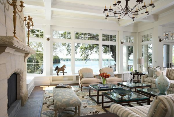 How to decorate a living room with large windows for Large family living room