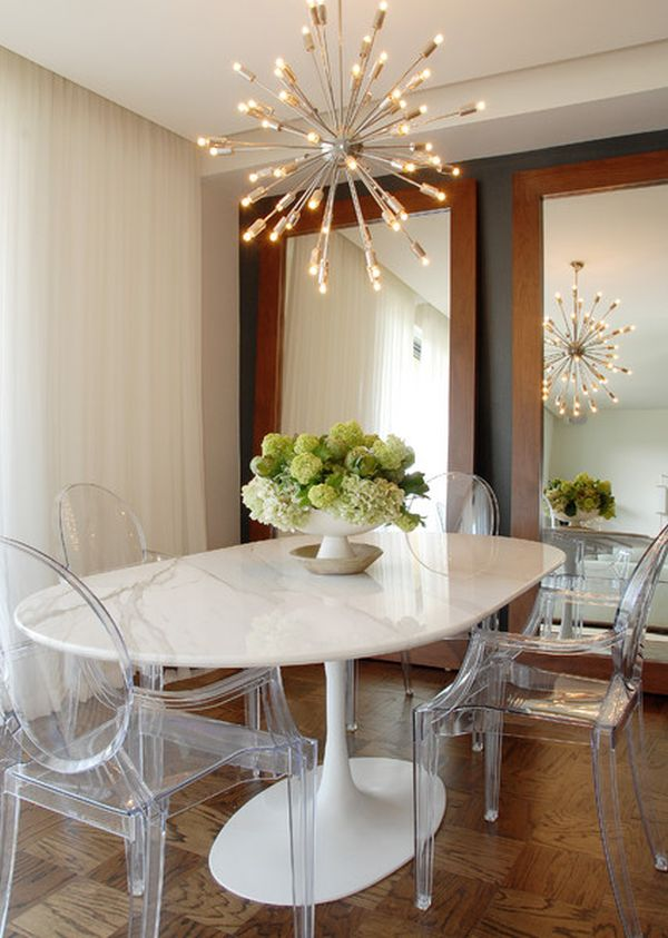 View In Gallery Eclectic Dining Room With A Small Oval Walnut Table
