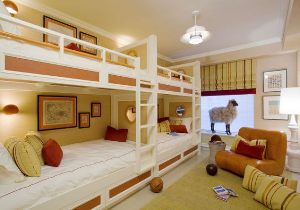 View In Gallery Rustic Wooden Bunk Beds Placed On Floor Level View ...
