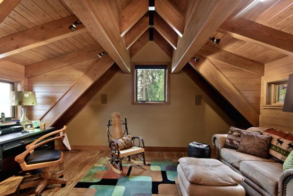 attic office ideas - Wooden attic ceilings advantages and design ideas