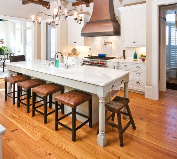 30 Kitchen islands with tables a simple but very clever combo : wood floor kitchen from www.homedit.com size 600 x 537 jpeg 60kB