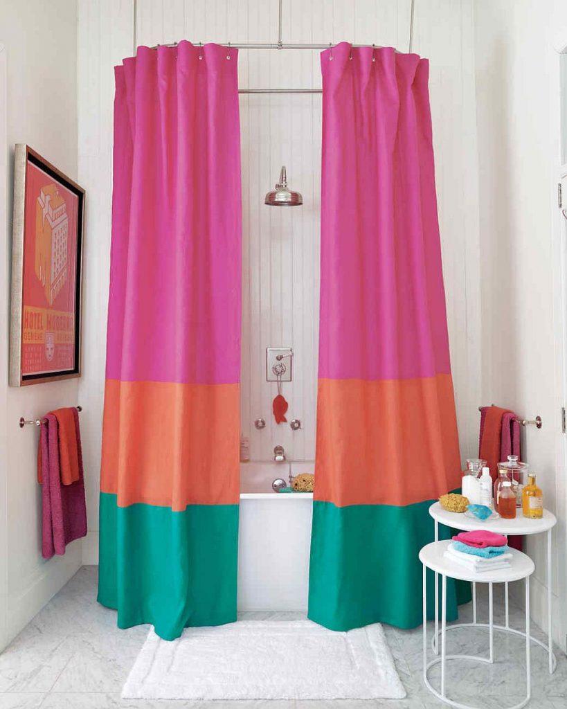 Large Horizontal Colorblock Stripes Shower Curtain