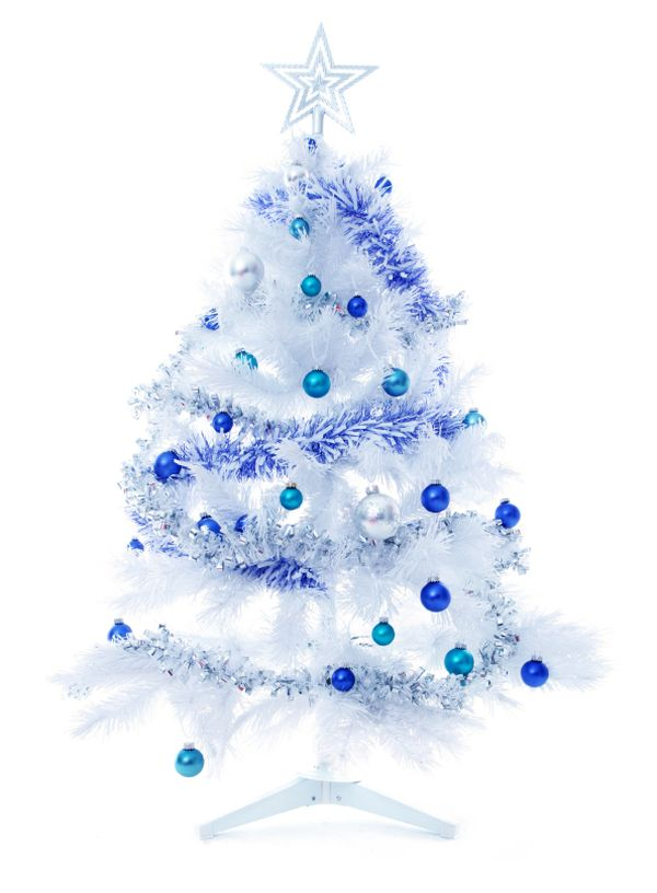 decorating a blue white christmas view in gallery - White Christmas Tree With Blue And Silver Decorations