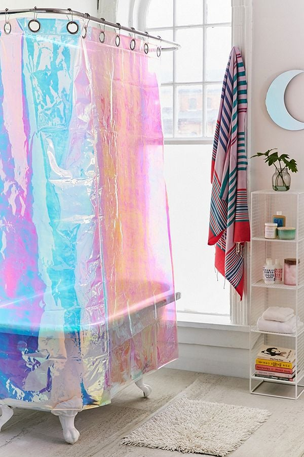 Iridescent Shower Curtain Look
