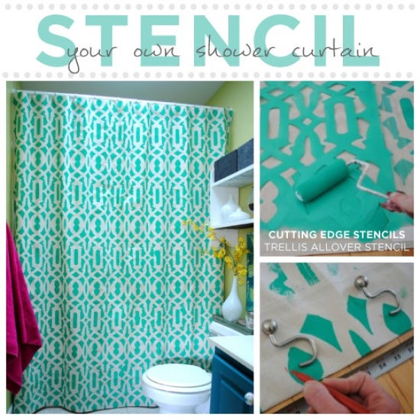 Stencil a Geometric Design on Your Shower Curtain