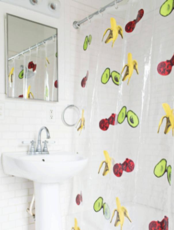 Use A See-Through Print Shower Curtain