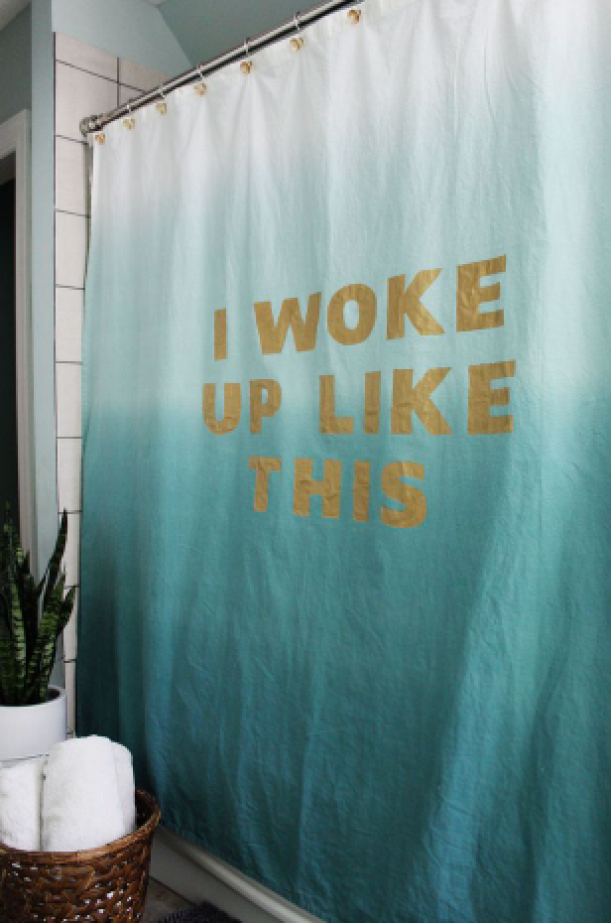 Use All Caps to Make a Shower Curtain Statement