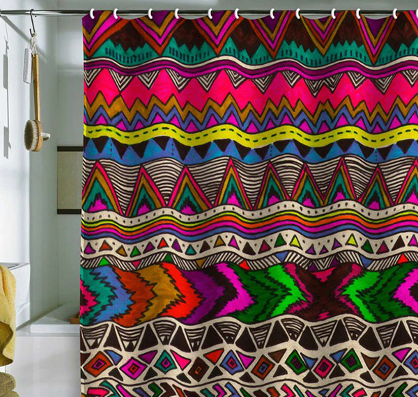 Colorful Patterned Shower Curtains to Brighten Dark Bathrooms