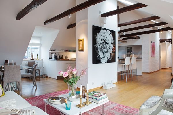 Elegant Chic Attic Apartment With A Colorful Interior And Exposed Beams Amazing Ideas