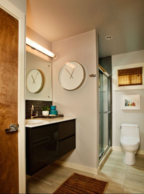 View In Gallery Contemporary Bathroom With A Large Wall Clock Clic Design