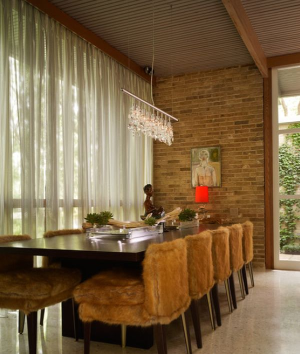 View In Gallery Cozy And Inviting Dining Room With Exposed Brick Wall, A Long  Table ...