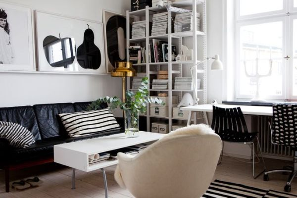 beautiful black and white dcor in a small apartment