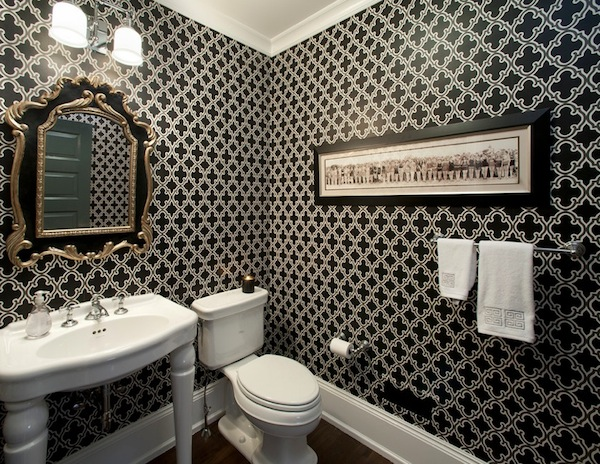 bold wallpaper bathroom dark