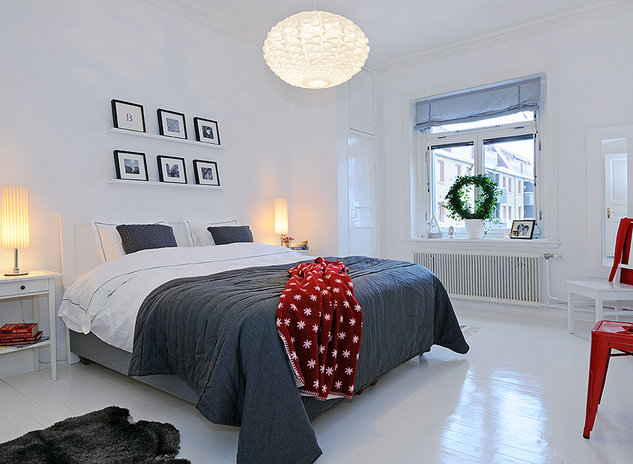 Minimalist white and grey bedroom with bold red. 35 Scandinavian Bedroom Ideas That Looks Beautiful   Modern