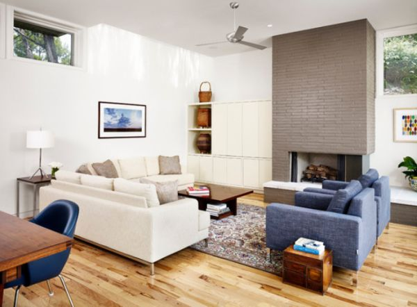 Beautiful designs featuring painted brick as an accent element - How to make a brick fireplace look modern ...
