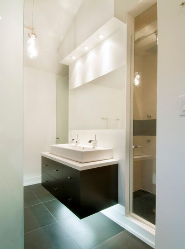 ... Bathroom Featuring An Elegant Floating Sink Cabinet On An Accent Wall  View In Gallery Small ...