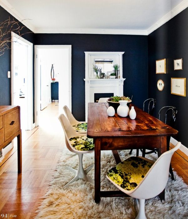 View In Gallery Painting All Four Walls Of Your Dining Room Navy Blue