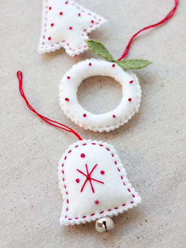 Small Ivory Felt Ornaments