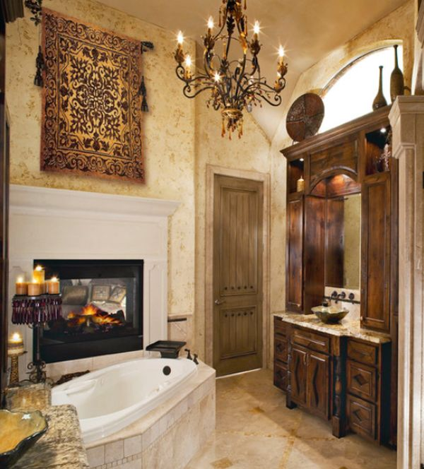 View In Gallery Traditional Bathroom Featuring A Fireplace ... Part 21