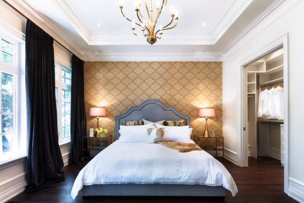 View In Gallery Stylish Master Bedroom With Patterned Wallpaper On The Walls  And A Matching Brown Ceiling View ...