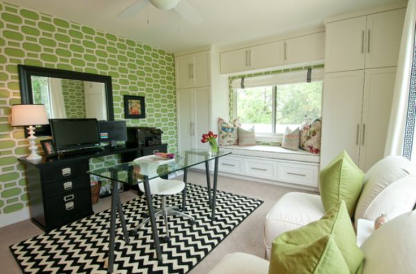 Interesting Black And Green Color Combos Used In Interior Décor Office 02