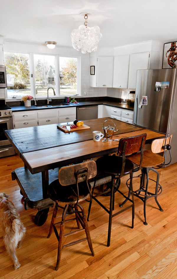 View In Gallery Wooden Kitchen Island And Dining Table