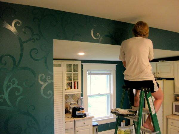 So Many Ways To Go Green Even The Kitchen Island: Before And After Kitchen Makeover With Patterned Walls