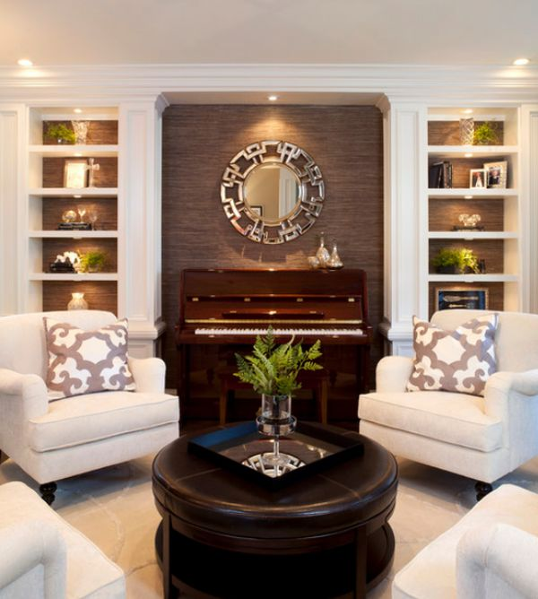 View In Gallery Traditional Living Room With Built Storage And Display Shelves