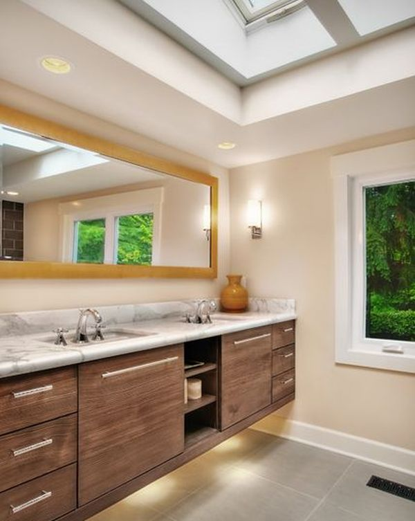 How to take advantage of floating vanities to make for Long bathroom vanity