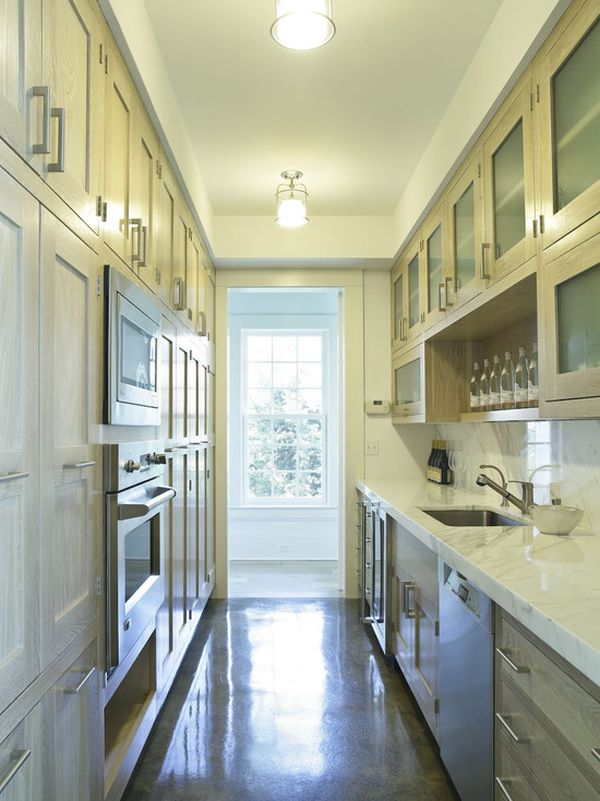 Long Kitchen Design this lengthy white kitchen features a butcher block island with carved legs expansive windows Interior Designs For Long And Narrow Kitchens