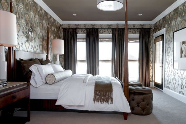 view in gallery stylish master bedroom with patterned wallpaper