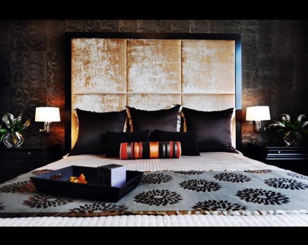 ... Bedroom With White Patterned Wallpaper And Brown Accents View ...