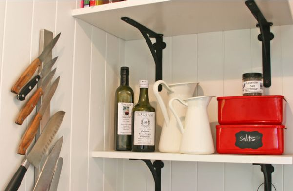 View In Gallery Sleek Magnetic Knife Holder Attached To The Kitchen  Backsplash View ...