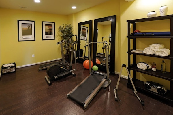 Enlarging your room with stand alone mirrors for Best home gym design ideas