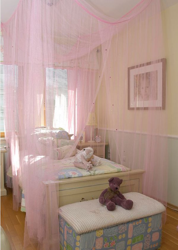 ... canopy bed, dark flooring and spotlights View in gallery Lovely girl's  ...