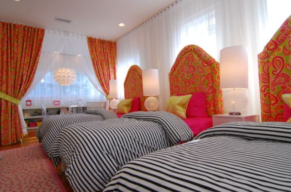 design ideas attic storage - Space efficient and chic shared girls' bedroom design ideas
