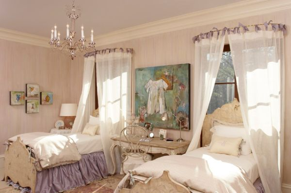 ... bedroom with delicate canopy bed and beautifully painted walls View ... & 15 Stylish chic and sophisticated canopy beds for girls