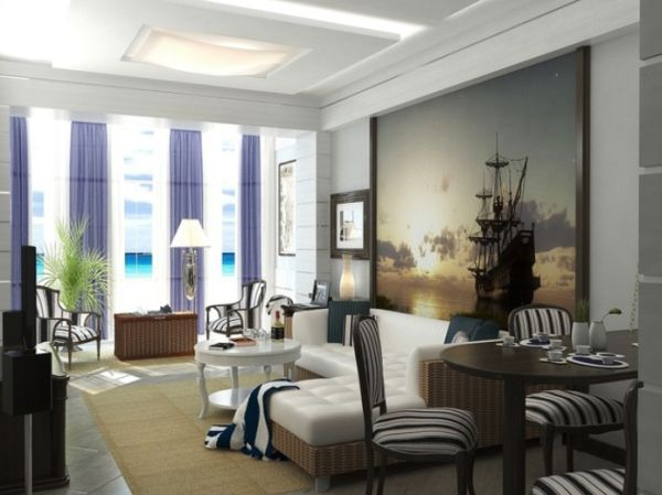 View In Gallery Mediterranean Living Room With An Oversized Sailboat  Painting ... Good Looking